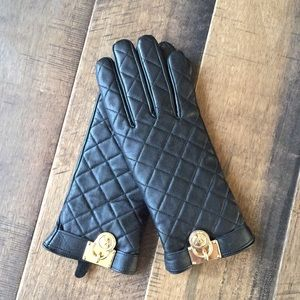 Michael Kors Black Leather Quilted Gloves